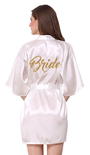(JOYTTON Women's Wedding Party White Satin Kimono Robe with Gold Glitter Bride M )