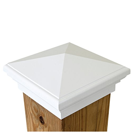 New England Post Top (6x6 Post Cap | White New England Pyramid Style Square Top for Outdoor Fences, Mailboxes & Decks, by Atlanta Post Caps)
