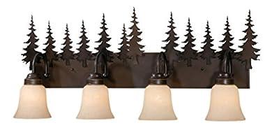 Vaxcel USA VL55504BBZ Yosemite 4 Light Rustic Bathroom Vanity Lighting Fixture in Bronze, Glass