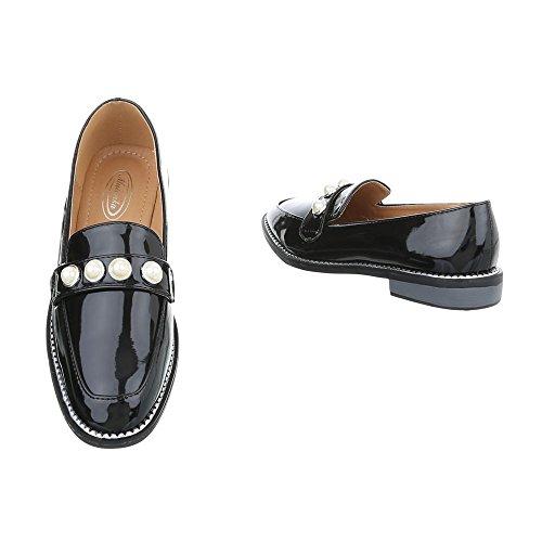Ital-Design Women's Loafer Flats Block Heel Slippers at Black TVzqFPRT