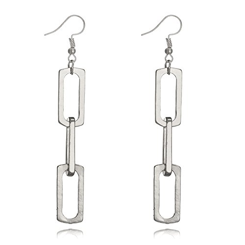 Retro Exaggerated 925 sterling silver Geometric Multi-layer Metal Chain Circle Dangle Drop Earring