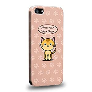 Case88 Premium Designs Art Collections Hand Drawing Cartoon kitten american shorthair Protective Snap-on Hard Back Case Cover for Apple iPhone 5 5s
