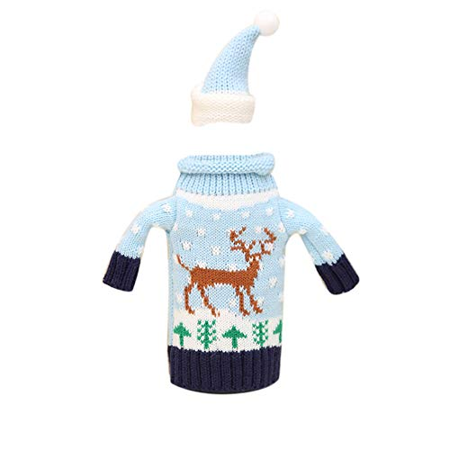 Connoworld Cute Knitted Wine Bottle Cover, Handmade Bear Bottle Sweater for Christmas Party Table Decorations Reindeer (Woman Wonder Koozie Bottle)