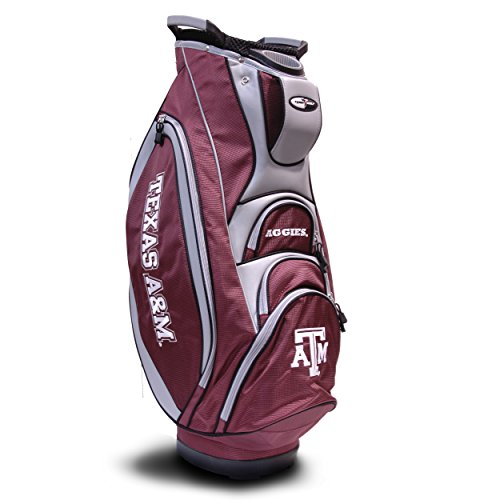 Team Golf NCAA Texas A&M Aggies Victory Golf Cart Bag, 10-way Top with Integrated Dual Handle & External Putter Well, Cooler Pocket, Padded Strap, Umbrella Holder & Removable Rain Hood