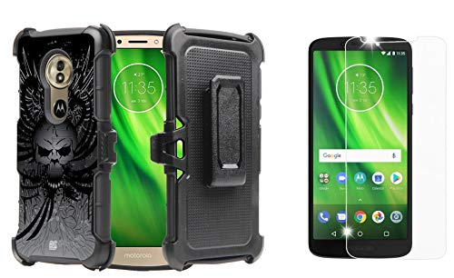 Dual Wing (BC Rugged Dual Layer Armor Kickstand Holster Case (Skull Wings) with Bubble-Free Tempered Glass Screen Protector and Atom Cloth for Moto G6 Play, Moto G Play 6th Gen, Moto G6 Forge)