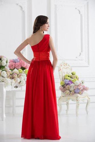 GEORGE mit Rot roten bowknot Abendkleider Ein BRIDE Elegante Schulter qTPAz