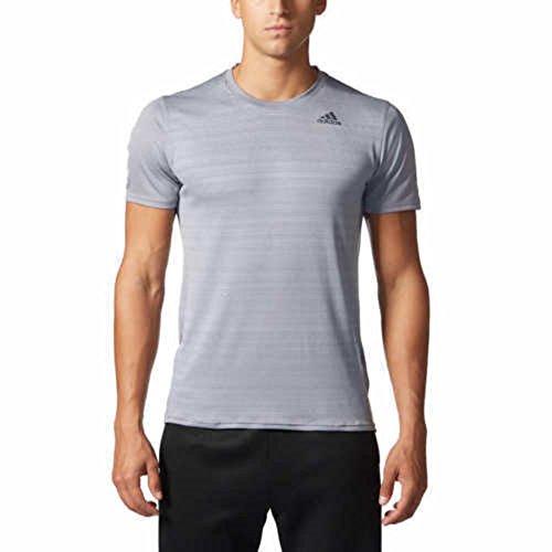 adidas Mens Climalite Energy Running Nova Training Short Sleeve Tee (L, Gray)