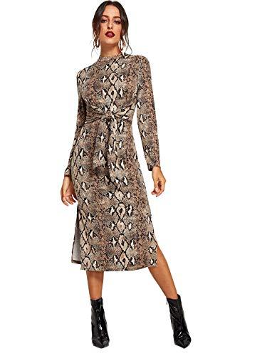 Floerns Women's Snakeskin Print Long Sleeve Tie Waist Midi Dress Multi XL