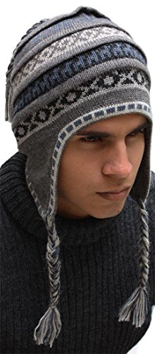 Chullo Ski Hat - Superfine 100% Alpaca Wool Handmade Intarsia Chullo Ski Hat Unisex Beanie Aviator Winter (Gray)