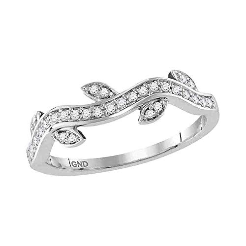 - 10kt White Gold Womens Round Diamond Vine Floral Stackable Band Ring 1/6 Cttw
