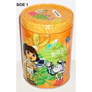 Dora the Explorer Jungle Explorer Round Tin Bank with Easy-Off Lid (Dora Toy Box)