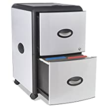 Storex Metal and Plastic Wheeled Filing Cabinet with Roll-Away Cover, Black/Silver (61352U01C) by Storex