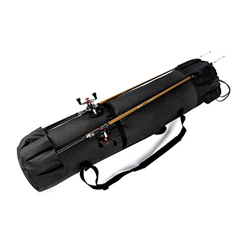 Yakun Fishing Rod Case Organizer Large Fishing Poles and Reel Bag Portable Travel Carry Case Bag Durable Folding Fishing Gear and Rod Holders for Rods Storage (Black)
