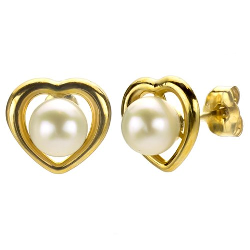14k Yellow Gold Heart Shape 5-5.5mm Round White Freshwater Cultured Pearl Back to School Stud Earrings