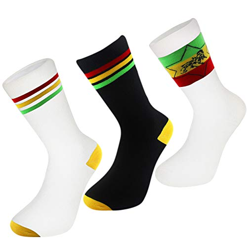 3 pack RASTA COTTON CREW SOCKS REGGAE LION of JUDAH STAR STRIPE COMFORT US 7-12 (White Stripe/Black Stripe/White Lion (3 Pack)) (Rasta Weed Socks)