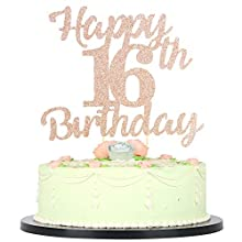 LVEUD 16th Birthday Cake Topper for Happy Birthday 16 Rose Gold 16th Cake Topper,Happy Birthday Cake Topper Cake Ornament (16th)