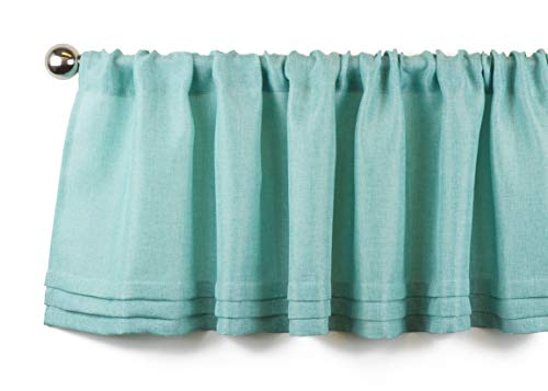 Aiking Home Semi-Sheer Faux Linen Pleated Valance 56 by 14 Inches, Aqua