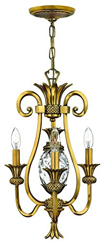 Hinkley 4103BB Traditional Three Light Chandelier from Plantation collection in Brass-Antiquefinish,