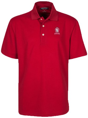 Oxford NCAA University of South Dakota Men's Micro-Check Golf Polo, Cherry Wood, Small ()