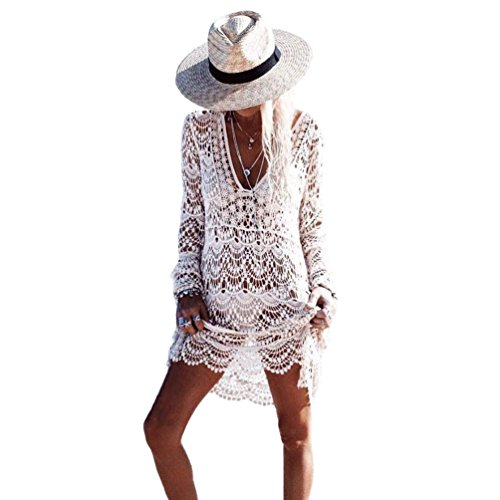 Bestyou® Women's Floral Lace Crochet Cover up Tunic Beachwear Tops Shirts XS-M (White..)