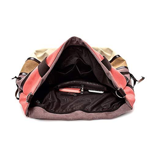Zmsdt Hombro color Negro De Capacidad Mujeres Lona bolsos Bolsos Tamaño Pink Para Gran HIRIqr