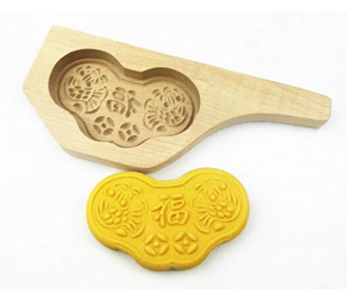 (JKLcom Wooden Moon Cake Mold Chinese Traditional Mid-autumn Festival Ingot Shape Mooncake Mold Wooden Handmade Baking Mold for Cake Cookie Muffin Soap Biscuit Chocolate Pumpkin Pie)