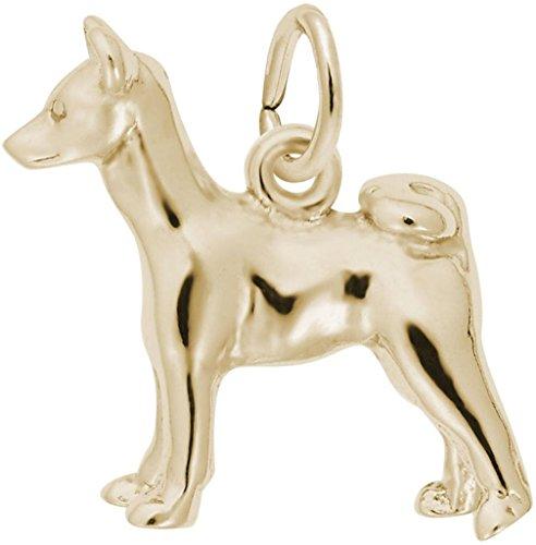 Rembrandt Basenji Dog Charm - Metal - Gold-Plated Sterling Silver