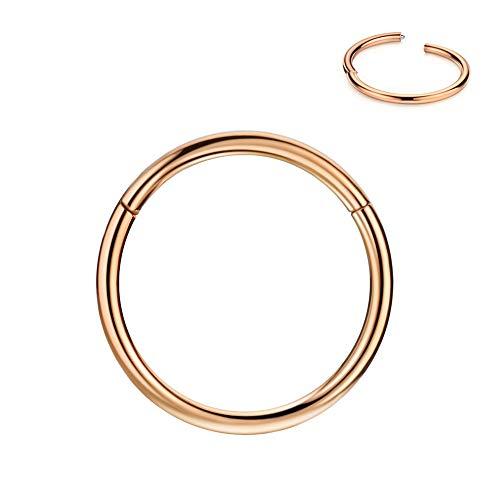 Fansing 14mm Bull Nose Ring Hoop 10g Septum Ring Rose Gold Septum