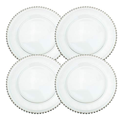 - Ms Lovely Clear Glass Charger 12.6 Inch Dinner Plate with Beaded Rim - Set of 4 - Silver