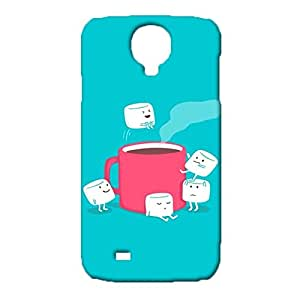 Samsung Galaxy S4 I9500 Cute Blue Phone Case,Attractive Light Blue Painted Pattern 3D Exquisite Premium Phone Back Case for Samsung Galaxy S4 I9500
