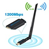 USB Wifi Adapter Antenna 1200Mbps - Dual Band 2.4G/5G Wi-fi ac Wireless Network Card Dongle with High Gain Antenna For Desktop Laptop PC Support Windows XP Vista/7/8/8.1/10 Mac OS X 10.4-10.12