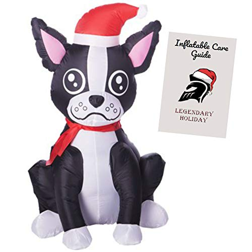 Christmas Boston Terrier Inflatable Holiday Decoration 3.5 ft with Inflatable Care Guide -