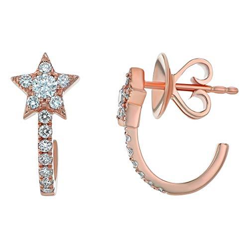 Olivia Paris 1/3 Carat cttw (H-I, I1) Diamond J Hoop Star Earrings in 14k Rose Gold