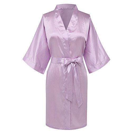 goodmansam Women's Bridesmaid Wedding Party Kimono Robes Satin Dressing Gown, Short,Lavender Purple,XL