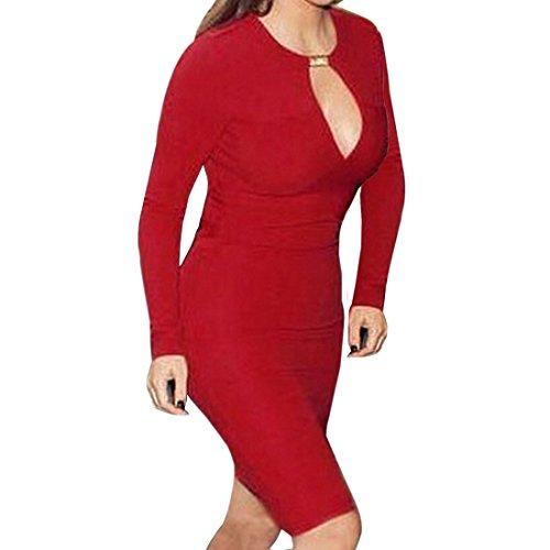 Qiyun 3008S0166 - Vestido para mujer Rojo