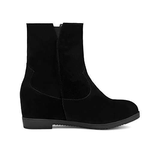 Suede Heels Round Solid AmoonyFashion Imitated on Black Closed Kitten Toe Pull Womens Boots OXZwOqt