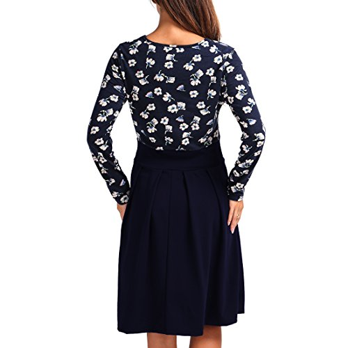 Blue Dress Women's Sleeve Patchwork Party Swing Puffy Navy Wf Long Pockets Casual Vintage RgfqAP