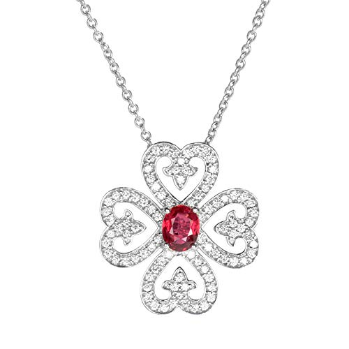 Unique 18-karat gold ruby four-leaf clover brooch fashion diamond pendant necklace birthday gift present necklace for women