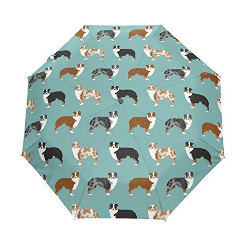 HLive Travel Umbrella Australian Shepherd Auto Open Compact Folding Sun & Rain Protection Umbrella with UV Protection - Umbrella Shepherd