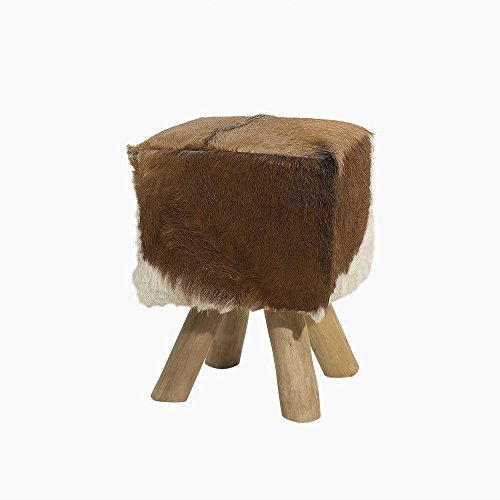 Beliani Real Lambskin Leather Square Footstool Teak Woods Cow Pattern Dalton