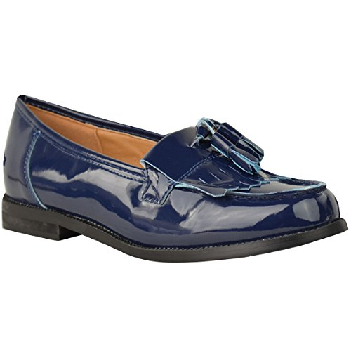 Fashion Thirsty Womens Loafers Flat Casual Office Work School Fringe Tassel Dress Shoes Size Navy Blue Patent