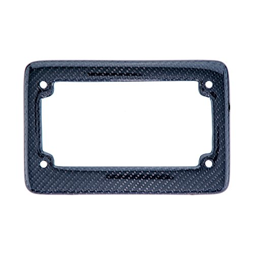 (BLVD-LPF OBEY YOUR LUXURY  Real 100% Black Carbon Fiber Motorcycle License Plate Frame with Matching Screw Caps - 1 Frame)