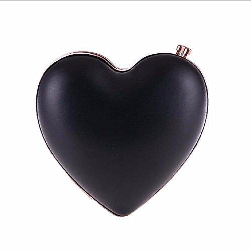 bolsa maquillaje banquete Peach bolso amor de noche XJTNLB de mano de New Heart de Black gules cadena cuero la la De el wU5aqt