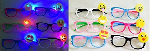 12 pieces set Emoji LED Light Up Sunglasses (Color May Vary) children party - Emoji Sunglasses