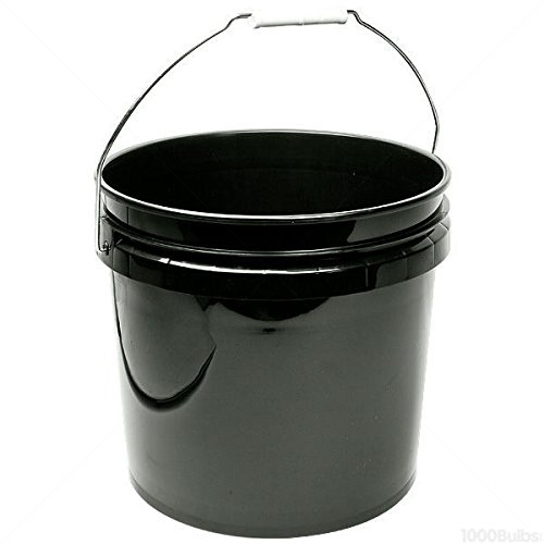 Hydrofarm HG3G Single Bucket, 3-Gallon, Black, 3 Gallon,