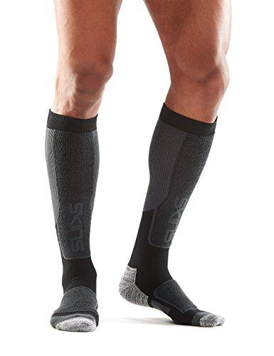 SKINS Men's Essentials Thermal Compression Socks, Black/Pewter, - Usa Compression Skins
