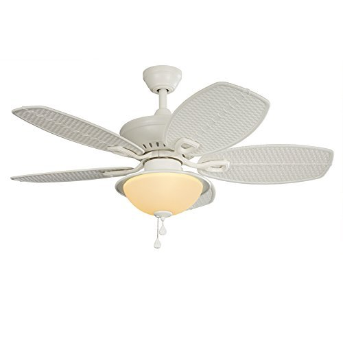 "Tropical Outdoor Ceiling Fan: 44"" White Downrod / Close Mount Indoor/Outdoor Tropical"