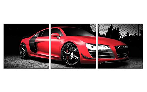 NAN Wind 3 Pcs 12X12inches Canvas Print Awesome Sports Cars Wall Art Classic Red Car on Black Background Pictures Print On Canvas For Home Decor (Classic Car Art)