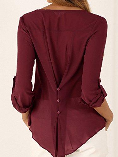 Haut Uni Longues Manches 3 V 4 Col Chemisier Tunique shirt Top T Bordeaux Femme xUnvqYB