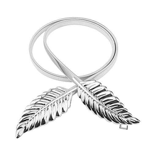 Elinadress Women's Stylish Sliver Leaf Buckle Elastic Stretch Waist Chain Belt For Dress